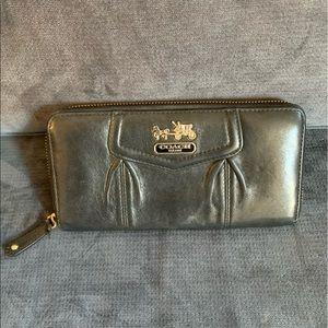 Coach black leather accordion wallet